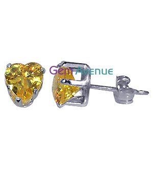 TDEZ2200Y Nickel Free Sterling Silver 6mm Heart Citrine Cubic Zirconia Post Back Stud Earrings
