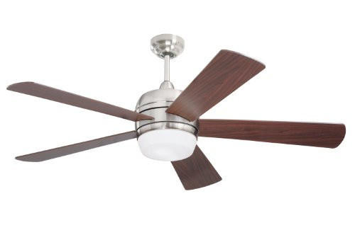 Emerson Cf930Bs Atomical Indoor Ceiling Fan, 52-Inch Blade Span, Brushed Steel Finish, Dark Cherry Blades And Opal Matte Glass