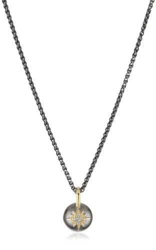 Mizuki Oxidized Silver Ball Necklace with 14k Diamond Starburst, 17