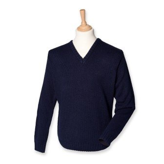 Henbury H750 Mens Acrylic V Neck Jumper Navy S