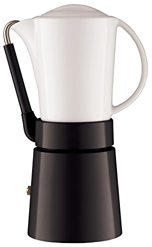 Aerolatte Cafe Porcellana Stove Top Espresso Maker, 4-Cup, Black