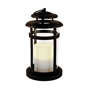 Flipo Pacific Accents Manchester Indoor/Outdoor Lantern with Flameless Resin Candle, Oil Rubbed Bronze