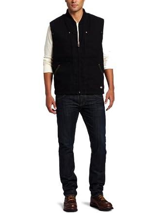 Dickies Men's Sanded Duck Sherpa Lined Vest, Black, Medium