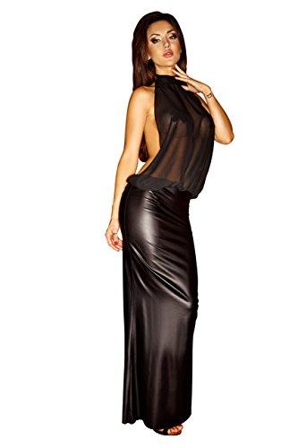 Aufregendes langes Damen Wetlook Abendkleid Tüll Neckholder Oberteil rückenfrei