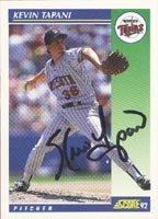 Kevin Tapani Minnesota Twins 1992 Score Autographed Hand Signed Trading Card. by Hall+of+Fame+Memorabilia
