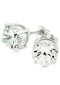 7mm Round Cut Stud Earrings