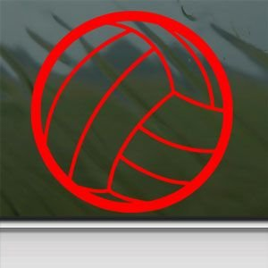 Small Volleyball Red Sticker Decal Car Window Wall Macbook Notebook Laptop Sticker Decal