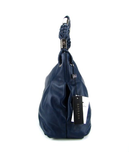 BARBARA MILANO Italian Blue Leather Designer Handbag Hobo Shoulder Bag
