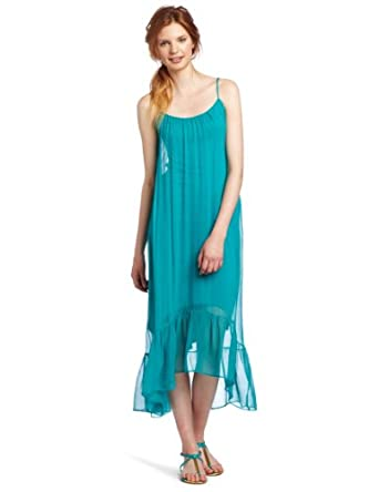 Twelfth St. by Cynthia Vincent Women's High Low Cascade Dress, Aqua, Petite