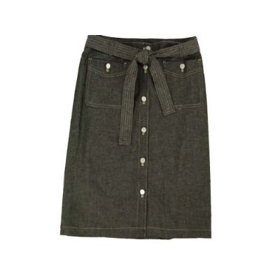 Calvin Klein Button Front Belted Denim Skirt (8, Black)