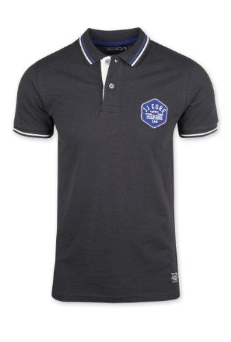Jack and Jones Mens Black Kanon Polo Shirt Embroidered Badge 100% Cotton NEW Black Large
