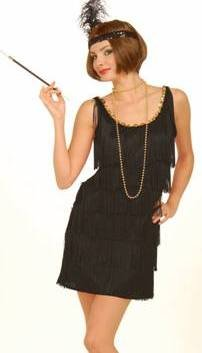 Womens Sexy Adult 1920's Costume 20s Dancer Flapper Girl Party Outfit Black Fringe Dress