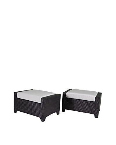 RST Brands Deco Set of 2 Club Chair Ottomans, Cream