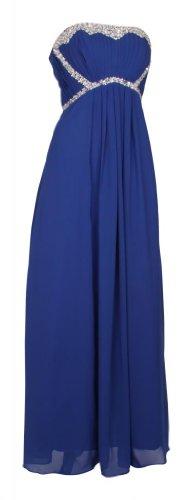 Langes Damen Bandeaukleid Abendkleider Trägerlose Ballkleider schulterfreie Cocktailkleider Chiffonkleider Pailetten Perlen Frauen Blau 36 UK 10