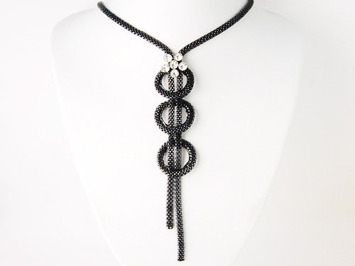 Black Circle Loop Chain Crystal Rhinestone Dangle Tassel Flower Fashion Necklace