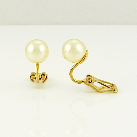 3D Classic Pearl Clip On Earrings - White Cream 6mm Gold