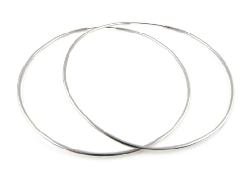 Amberta Orecchni a cerchio in argento 925, diametro 80mm, misura extra large, paio