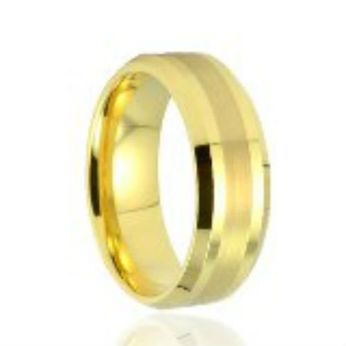 18k Gold Plated+ Beveled + Brush Unisex Comfort Fit Tungsten Carbide Wedding Band Ring -Sizes 6-15.5- 8mm (9.5)