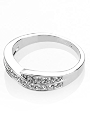 M&S Collection Platinum Plated Double Crossover Diamanté Ring
