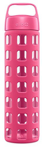 Ello Pure 20-Ounce BPA-Free Glass Water Bottle with Lid, Pink Squares (Wide Mouth Glass Water Bottle compare prices)