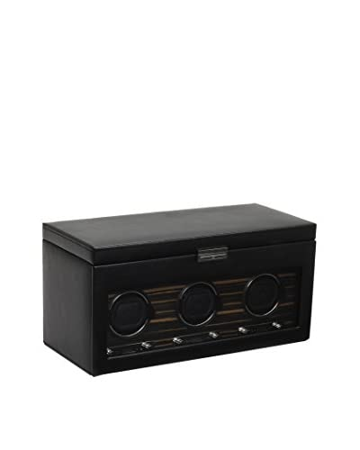 WOLF Roadster Triple Watch Winder with Cover and Storage, Black