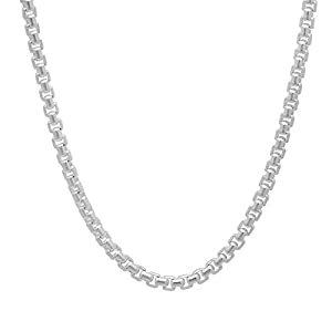 3.5mm Solid 925 Sterling Silver Round Box Chain Necklace, 18