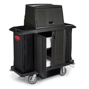 Rubbermaid Commercial Full Size Housekeeping Cart With Doors, 22W X 60D X 67 1/2H, Black - One Housekeeping Cart. front-521908
