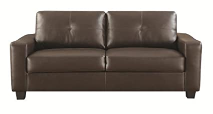 502731 Jasmine Snow Brown Bonded Leather Sofa by Coaster