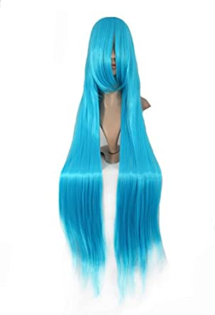 MapofBeauty Long Cosplay Party Straight Wig 100cm (Azure Blue)