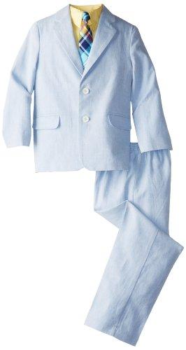 Nautica Little Boys' Textured Herringbone Suit Set, Medium Blue, 2T/2 front-1033041