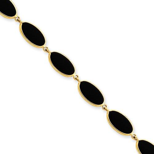 7.25 Inch 14k Gold Onyx Bracelet Real Goldia