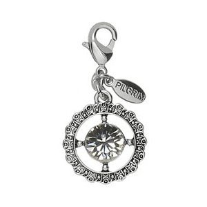 Pilgrim Women's Charms Pendant Crystal White Brass Silver Plated 560082