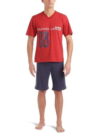 Athena Sérigraphie- Pyjama - Homme - Multicolore (Rouge/Bas Marine) - L (Taille Fabricant: 4)