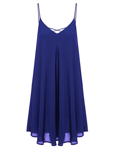 ROMWE Women's Summer Spaghetti Strap Sundress Sleeveless Beach Slip Dress Blue XXL