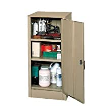 "Edsal 6604TN Tan Steel Storage Cabinet, 2 Adjustable Shelves, 42"" Height x 18"" Width x 18"" Depth"