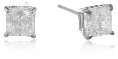 14K White Gold Princess-Cut Cubic Zirconia Stud Earrings (0.75 Cttw, Diamond Equivalent)