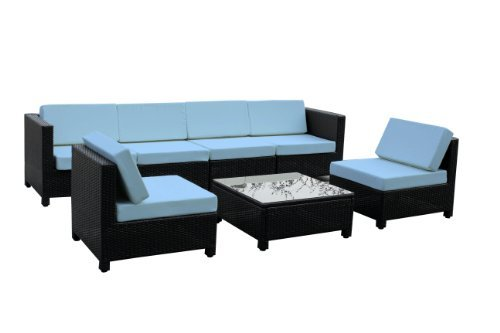 Exacme 7 pcs Luxury Wicker Patio Sectional Indoor Outdoor Sofa Furniture set Light Blue picture