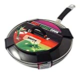 Ready Steady Cook Bistro 28cm Stainless Steel Non-Stick Stirfry Pan with Glass Lid, Silver and Black