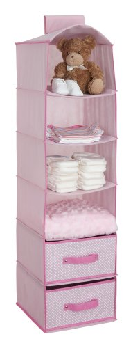Delta Children 6 Shelf Storage with 2 Drawers, Pink