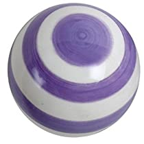 Lavender & White Striped Ceramic Drawer Pull