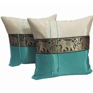 A Pair Of Beautiful Thai Silk Pillow Covers For Decorate Living Room Bed Room Sofa