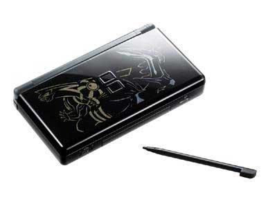 DS Lite System Pokemon Limited Edition Black Onyx with Pearl Pokemon logos - Official Nintendo Refurbished