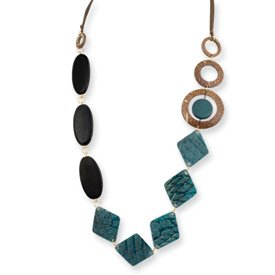 Gold-tone Turq. Blk Natural Wood Coconut Gen. Fish Skin Necklace - JewelryWeb