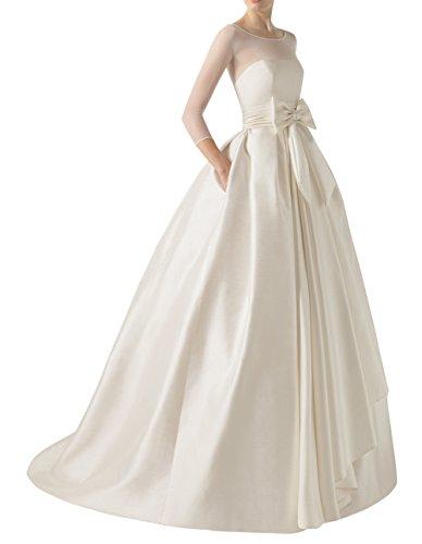 DAPENE® Women's Illusion Long Sleeve Tunic Ball Gown Bridal Wedding Dress