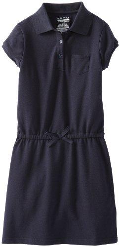Nautica Big Girls' Pique Polo Dress,Su Navy,X-Large (16) front-1048053