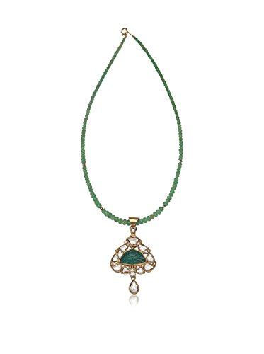 Socheec Carved Emerald & Diamond Necklace