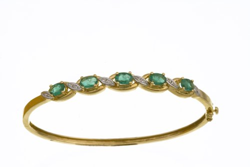 Ladies' Diamond and Emerald Bangle, 9ct Yellow Gold, Prong Setting Model PBC1838