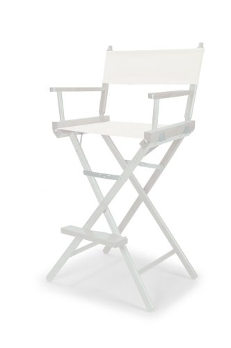 Telescope Casual Heritage Bar Height Director Chair, White with White Frame