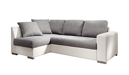 Cotta M442661 C311/D200 Polsterecke mit Schlaffunktion und Bettkasten, Recamiere links, Kunstleder weiß mit Strukturstoff grau, 155 x 240 cm