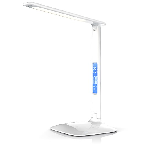 Brandson - Lampada dimmerabile a LED da scrivania ad alta potenza, con calendario | Lampada a LED da scrivania / lampada da ufficio / lampada da tavolo | Calendar Desk Lamp | 3 colori di luminosità | Funzione temperatura, allarme e calendario | Alta efficienza luminosa / circa 450lm | Classe di efficienza energetica A | Touch Control (comando al tatto) | durevole, robusta e resistente | LED a risparmio energetico | Bianco